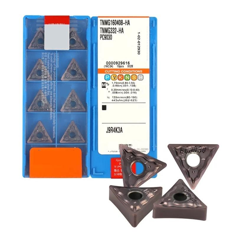 10pcs TNMG160404-HA PC9030 TNMG160408-HA PC9030 CNC Lathe Cutting Blade Carbide Turning Insert For Stainless Steel