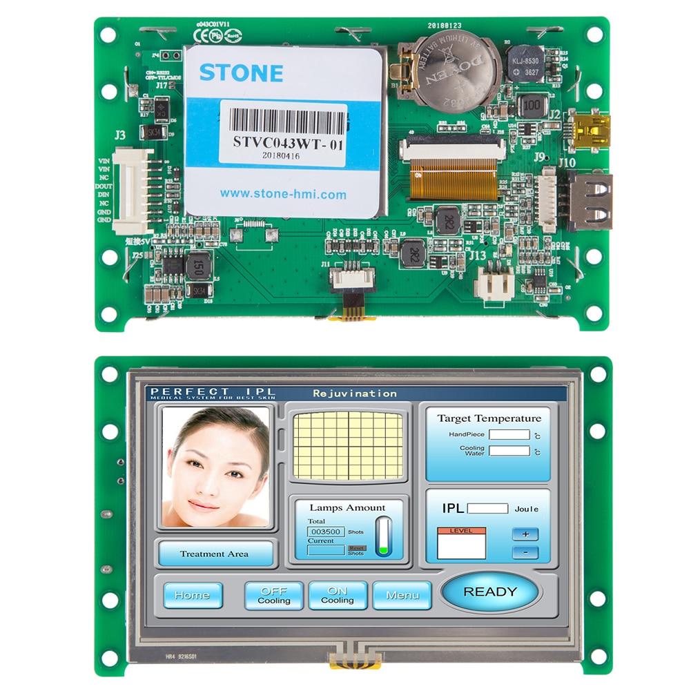 4,3 дюймовый Интеллектуальный TFT LCD с портом RS232 для промышленного использования