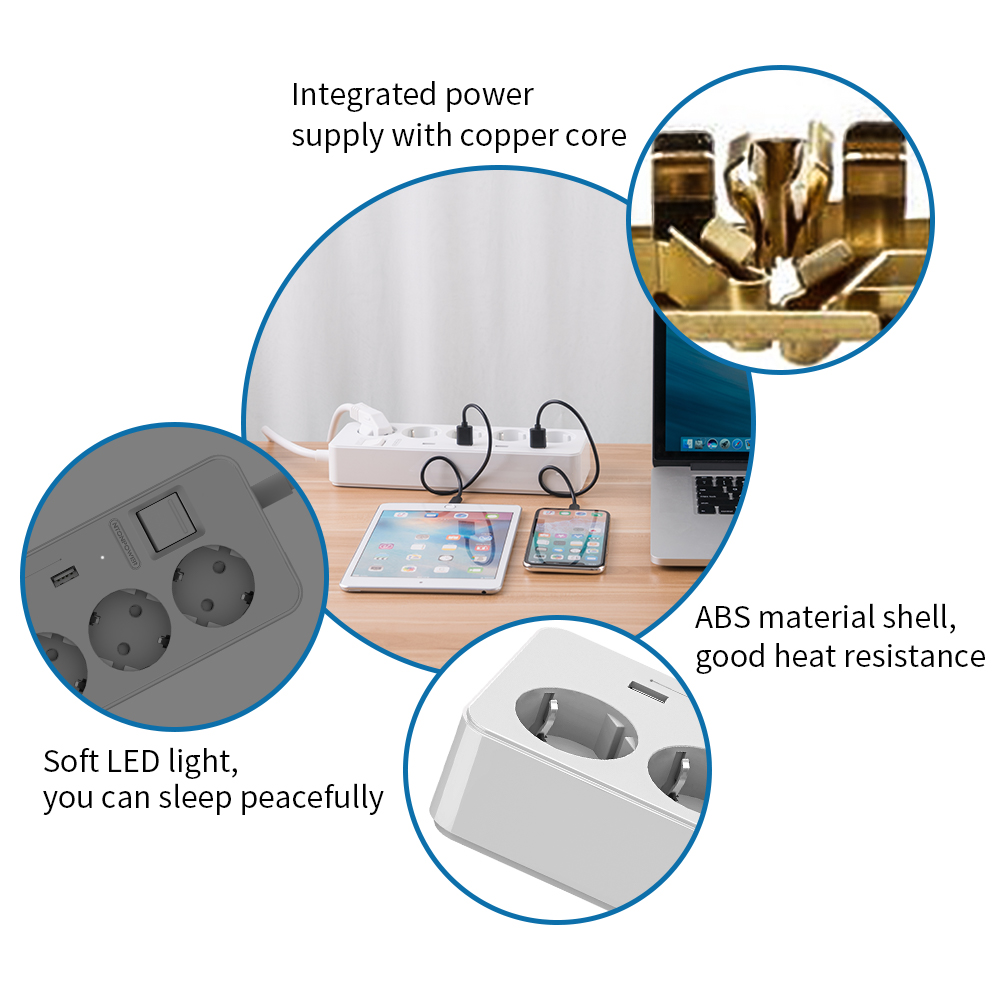 cheapest NTONPOWER Extension Socket EU Plug 5 Ports 4 USB Power Strip for Home Office Surge Protector with Charger for Phone Tablets