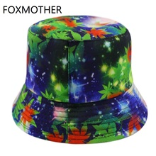 FOXMOTHER New Design Autumn Green Star Galaxy Leaves Weed Bucket Hats Reversible Fishing Caps Mens Gorras Hip Hop  2019