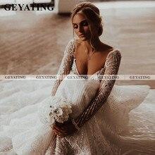 Vintage de manga larga de encaje vestido de novia Boho Beach de talla grande elegante vestidos de novia batas de boda de estilo Civil Country vestidos de novia
