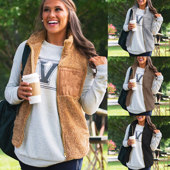 Winter European And American Warm Plush Coat Zipper Vest All-around Top For Woman