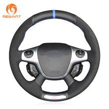 Черный Натуральная кожа ручной шитье чехол рулевого колеса автомобиля для Ford Focus 3 ST 2012