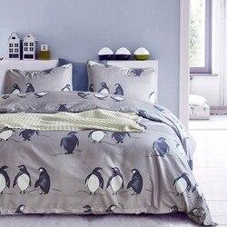 BBSET śliczne pingwin drukowanie zestawu pościeli poszewki na poduszkę i kołdrę zestaw osłon bawełniane łóżko zestaw łóżko domowe produkty tekstylne Roupa De Cama