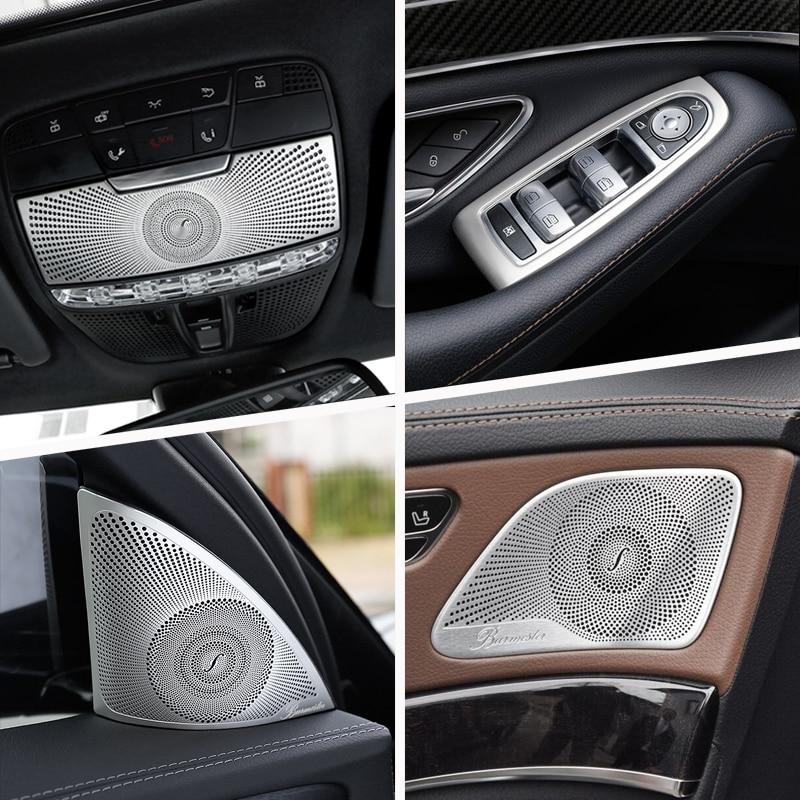 Car Inner Door Audio Speaker Gearshift Panel Door Armrest Cover Trim Stickers for Mercedes Benz S Class W222 2014-19 Accessories