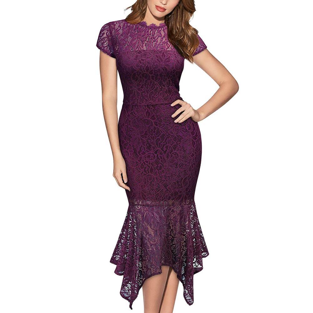 Women's Vintage Elegant Cap Sleeve Slim Sheath Mermaid Dress Cocktail Party Floral Lace Dresses|Dresses| - AliExpress