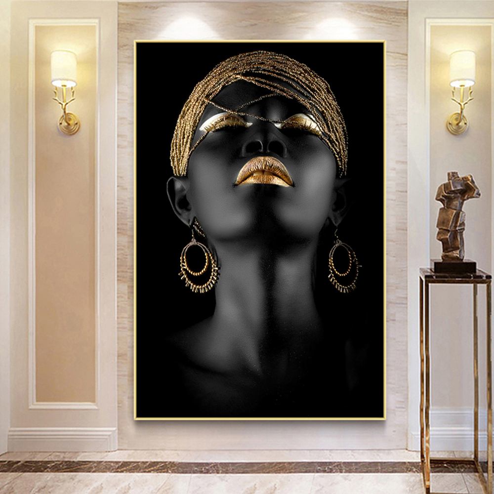 AHPAINTING Wall Art Picture Figure Painting Golden Black Woman Canvas Print Posters and Prints For Living Room