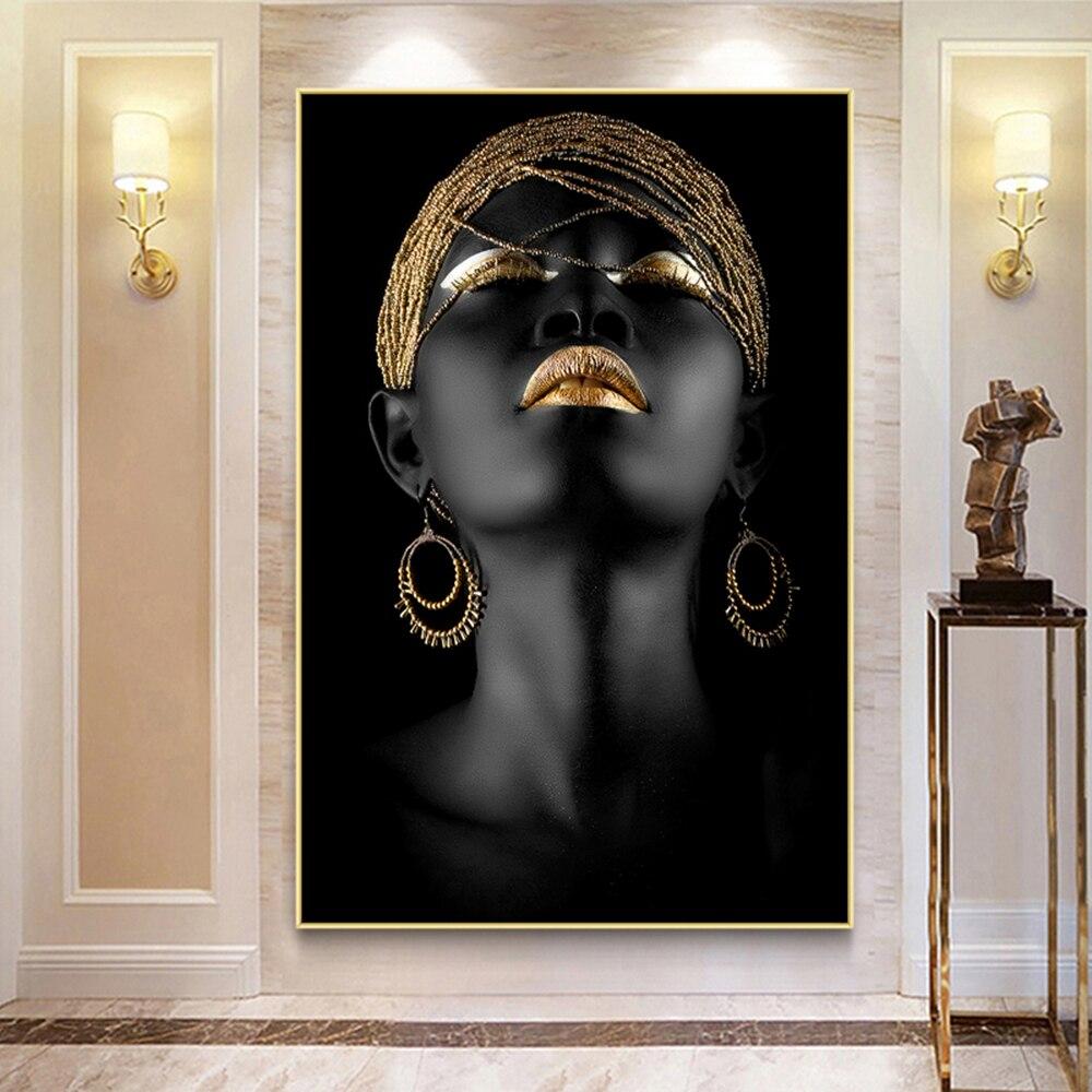 Cnpaint настенная живопись, фигурка, картина, золотая, черная женщина, печать на холсте, плакаты и принты для гостиной