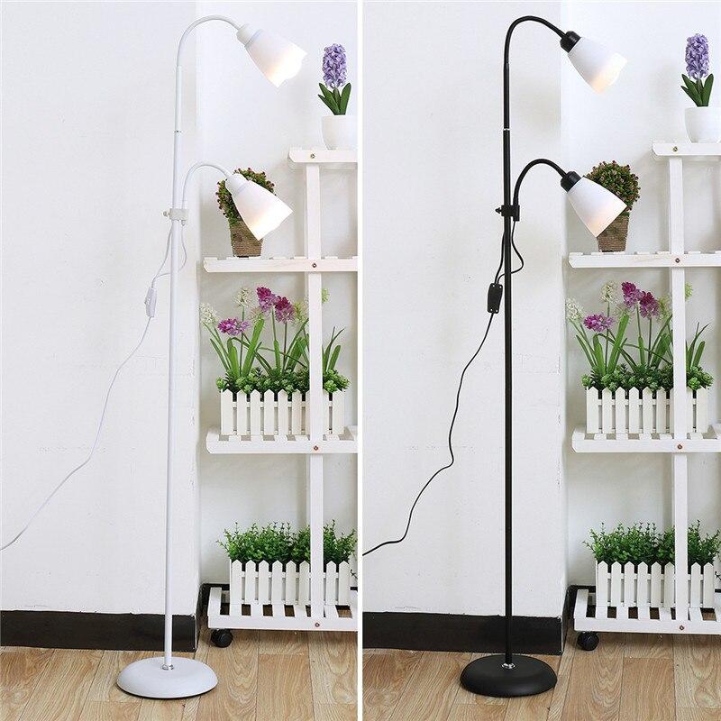 مصباح أرضي عصري 2 حامل أضواء غرفة المعيشة قابل للتعديل فندق الإضاءة E27 LED التيار المتناوب 220 فولت لغرفة النوم المنزل أسود/أبيض