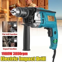 New 1980W Electric Brush 13MM Electric Handheld Impact Flat Drill Guns Torque Driver Tool