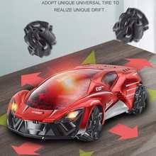 2.4g rachadura controle remoto min drifting rc carro dublê multi-direcional 360 girando modelo de carro de corrida elétrica com luzes brinquedos