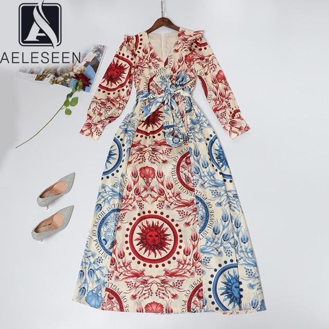 AELESEEN High Street Design Contrast Color Runway Print A Line Dresses Women Elegant Ruffles Shoulder Sashes Floral Long Dress