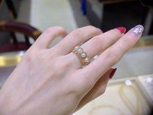 18k importação sólido amarelo ouro jóias (au750) feminino único grão akoyapeas tecelagem anel de renda corrente natural água do mar pérola senhora