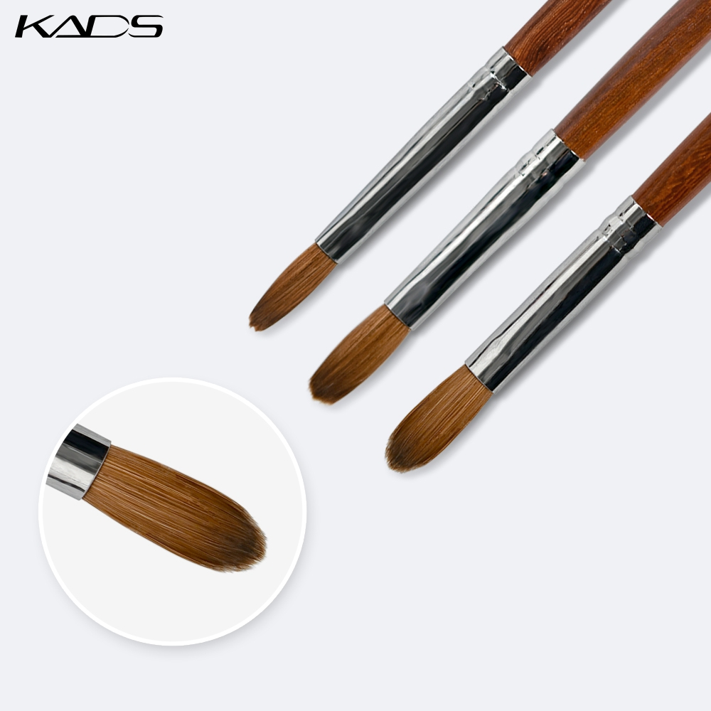 1pc 6#/8#/10# 100% Kolinsky Sable Acrylic Brush Nail Gel Builder Brush Round Flat Head Red Wood Handle For Nail Art Brushes Tool