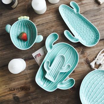 NEWYEARNEW kaktus talerz kreatywny talerz na przekąski zastawa stołowa Nordic osobowość talerz śniadaniowy talerzyk deserowy ceramiczny talerz na owoce tanie i dobre opinie Ceramiczne i emaliowane Afryka PLANT