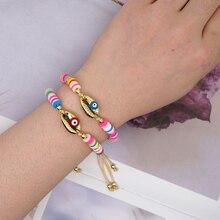 GO2BOHO Seashell Bracelet Women African Bracelets Heishi Disc Beads Rainbow Macrame Pulseras Multicolor Handmade Jewelry kpop ss501 kim hyun joong silicon bracelets luminous bracelet wristband pulseras 19278