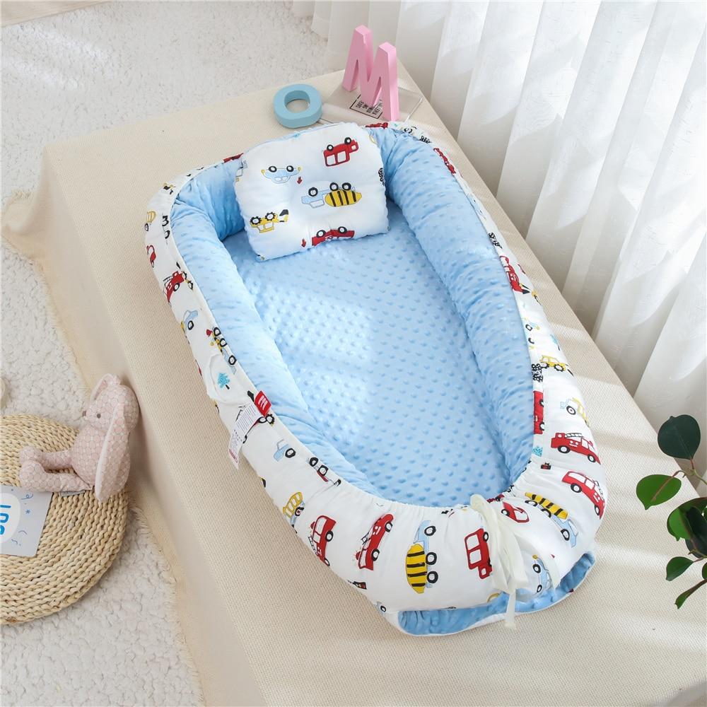 90X50cm Baby Nest Bed Newborns Sleep Cot Infant Cotton Cradle Baby Bassinet Bumper