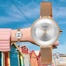 цена Fantor Luxury Top Brand Ladies Watch Rose Gold Mesh Watchband Women Elegant Quartz Wristwatch Woman Small Wrist Bracelet Watches онлайн в 2017 году