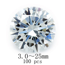 100pcs 3.0mm ~ 25mm 5AAAAA Round Cubic Zirconia High Quality Zircon