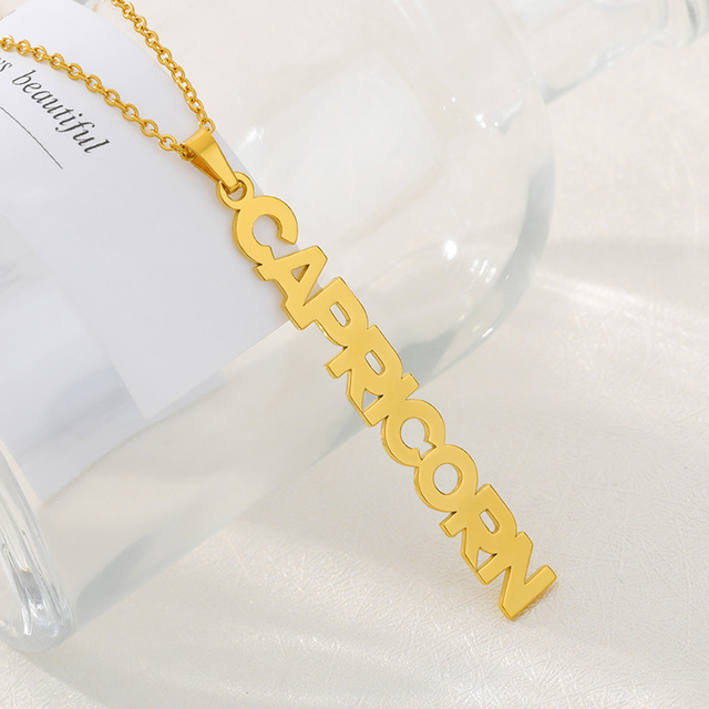 Zodiac Necklace For Women Stainless Steel Letters Pendant Choker Constellation Jewelry Aries Gemini Cancer Best Friend Necklace 4