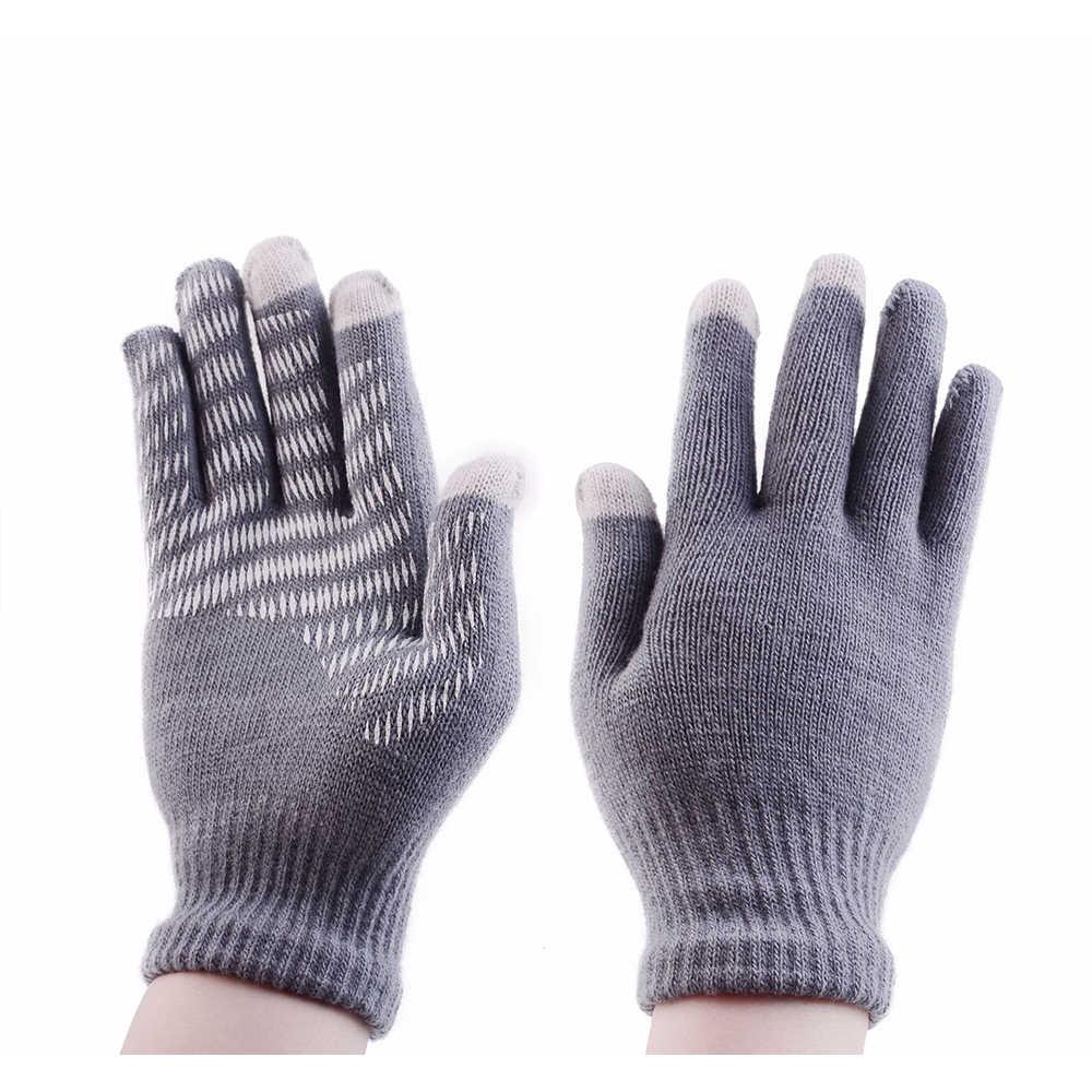 新ファッション女性男性手袋冬暖かいタッチスクリーン手袋防風アンチスリップサイクリングミトングレー黒、赤、ピンク