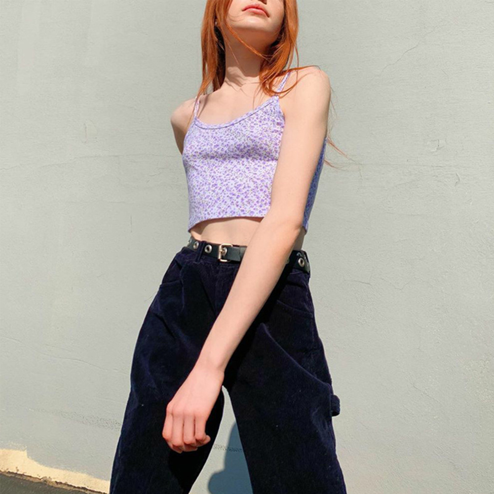 2020  E-girl Spaghetti Strap Floral Graphic Cropped Tops Y2K Fashion Print Backless Purple Camis Tops Chic Summer Cute Tank