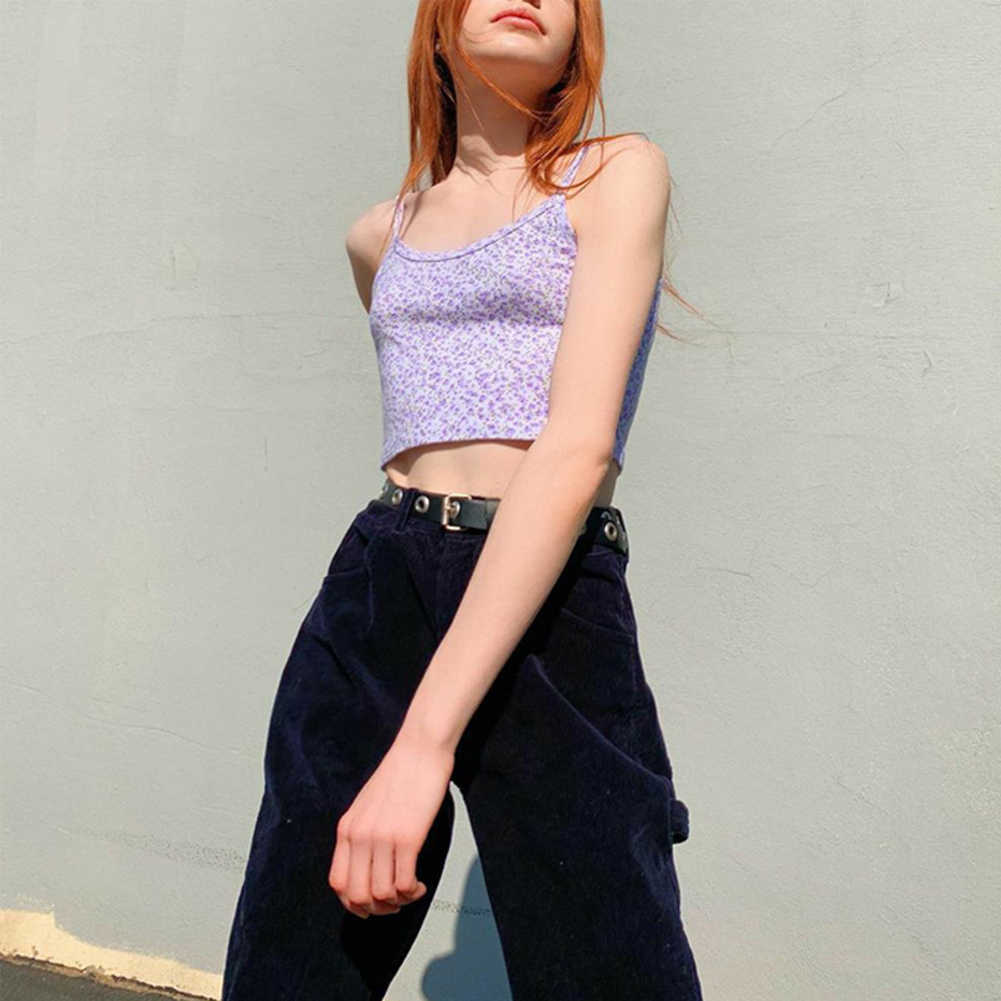 E-Girl Spaghetti Strap Floral Graphic Cropped Tops Y2K Printing Backless Purple Camis Tops