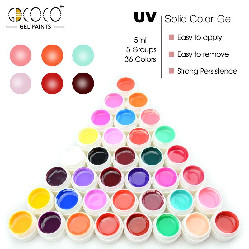 GDCOCO 5ml Pure Color Painting Gel Soak off UV LED Nail Gel Polish Paint Gel Original Nail Art Design Professional Nail Gel