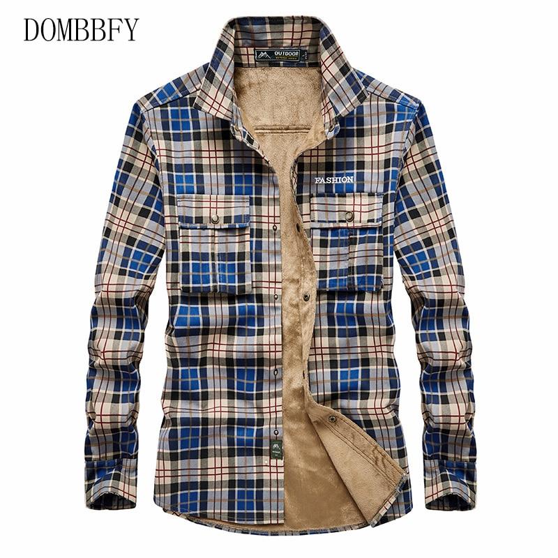 Shirt Men Plaid Flannel Shirts Mens Casual Autumn Winter Spring Thick Warm Fleece Cotton Long Sleeve Shirt 4XL Camisa Masculina