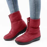 Bottes d'hiver femmes bottes de neige noires baskets imperméables bottines bas chaud dames Chaussures Femme fermeture éclair Chaussures Femme