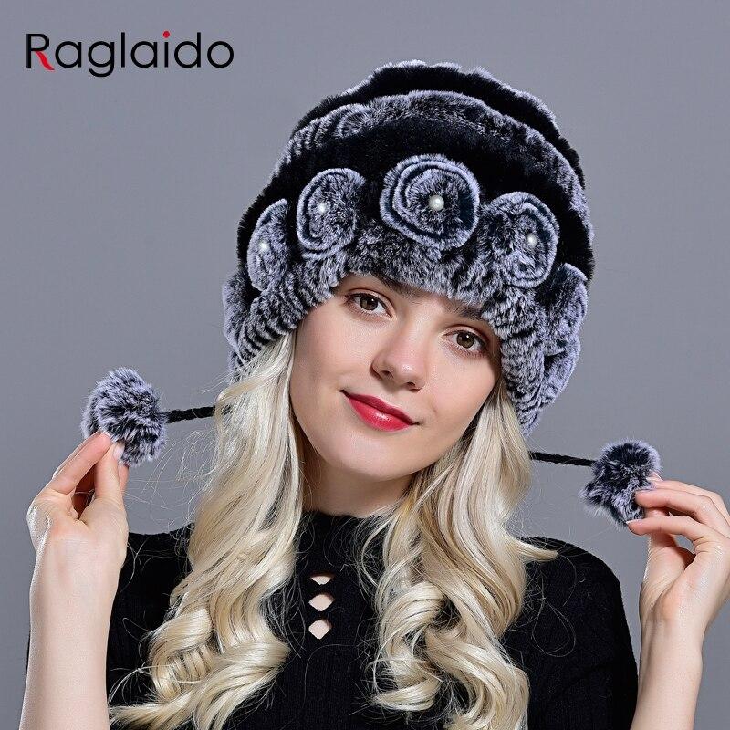 women's hat winter warm rabbit fur hats with pearls fashion striped unique design natural fur bomber hats female ball caps 3