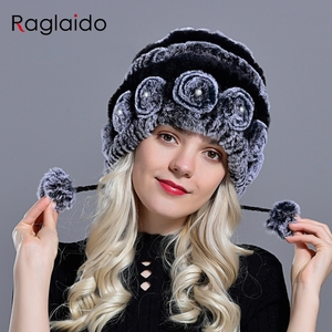 Image 4 - womens hat winter warm rabbit fur hats with pearls fashion striped unique design natural fur bomber hats female ball caps