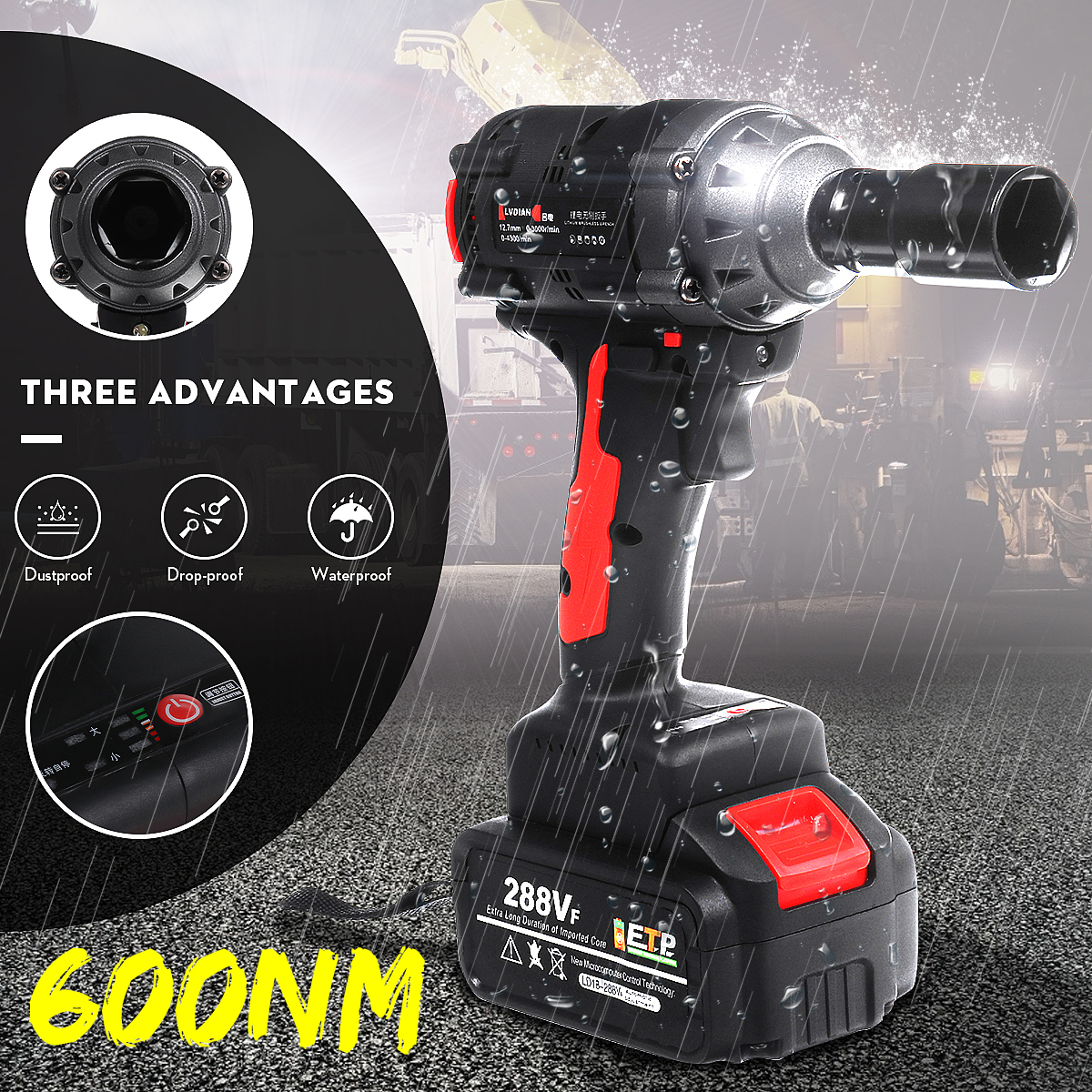 600Nm High Torque 288VF 19800mAh Waterproof Brushless Wrench LED light Rechargeable Cordless Electric Impact Drill Screwdriver|Electric Wrenches| |  - title=