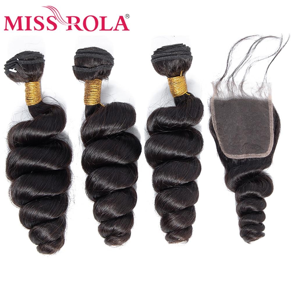 Miss ロラ髪マレーシアルーズウェーブ 3 バンドルと閉鎖 100% 人毛バンドルマレーシア髪 4*4 レース閉鎖非レミー  グループ上の ヘアエクステンション & ウィッグ からの 3/4 バンドル留め具付き の中 1