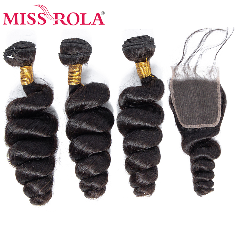 Miss Rola Hair Malaysian Loose Wave 3 Bundles With Closure 100% Human Hair Bundles Malaysian Hair With 4*4 Lace Closure Non-Remy