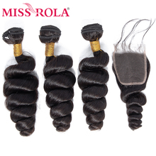 Miss Rola Hair Malaysian Loose Wave 3 Bundles With Closure 100% Human 4*4 Lace Non-Remy
