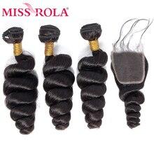 Miss Rola Hair mechones de pelo malayo ondulado suelto, 3 mechones con cierre 100% extensiones de cabello humano mechones de pelo malayo con cierre de encaje 4*4 no Remy