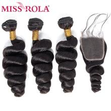 Verpassen Rola Haar Malaysische Lose Welle 3 Bundles Mit Verschluss 100% Menschliches Haar Bundles Malaysische Haar Mit 4*4 spitze Schließung Nicht Remy