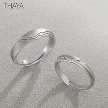 Thaya Seeking Rings S925 Silver Circular Rock Design Zircon Jewelry Ring for Women Elegant Simple Gift