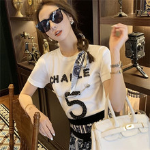 Women Wool Knitting Summer T-Shirt Female 2021 New Luxury Brand Tops Ladies High Quality Fashion Casual Striped Embroidered Tees