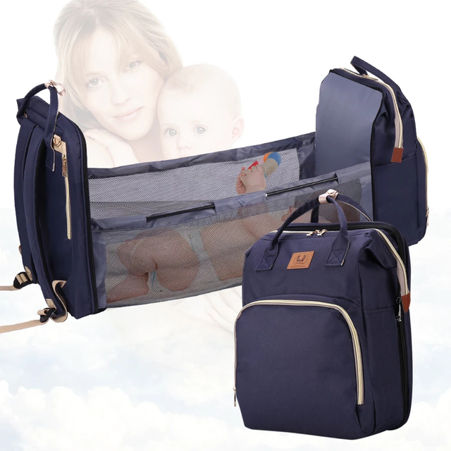 Baby Diaper Bag Bed Backpack For Mom Maternity Bag For Stroller Nappy Bag Large Capacity Nursing Bag for Baby Care Upgrade Hooks