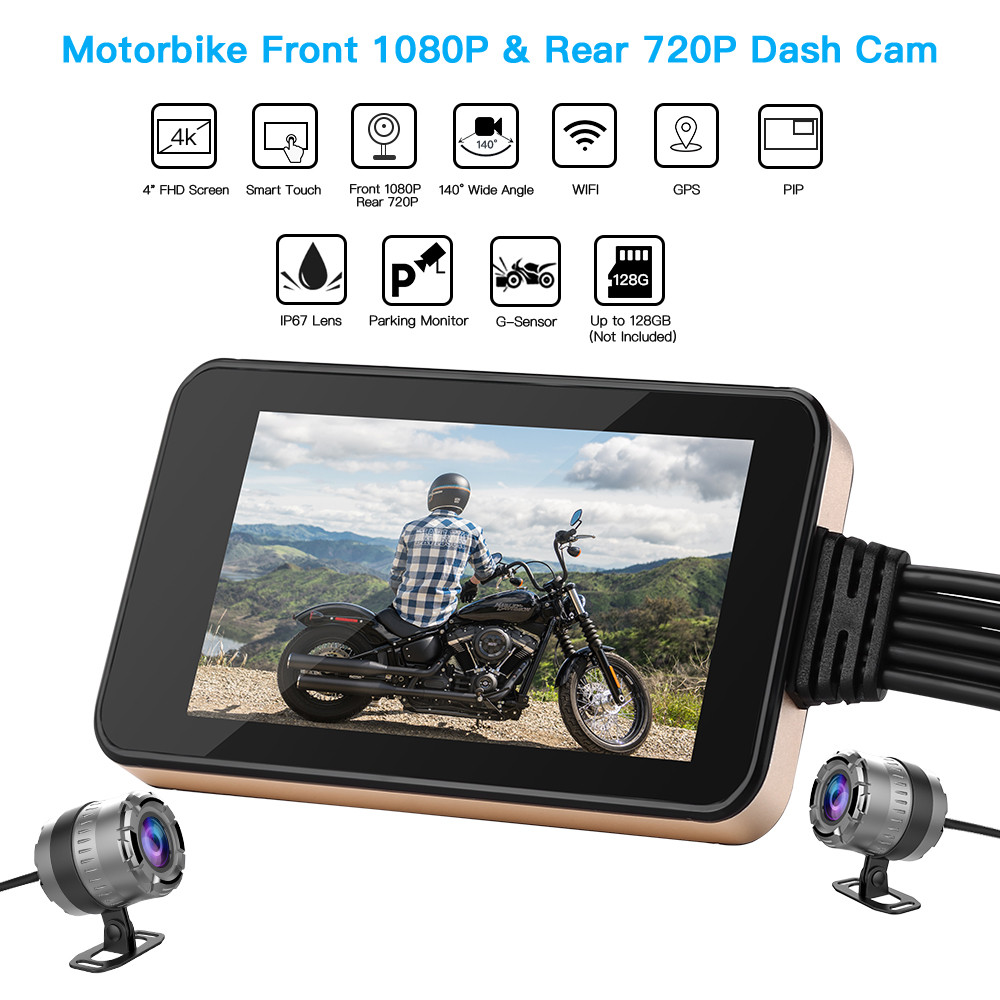 Blueskysea Dash Camera  Motorcycle Touch Screen WiFi Moto GPS 4 140° Dual DVR HD Cam1080P Sport Waterproof