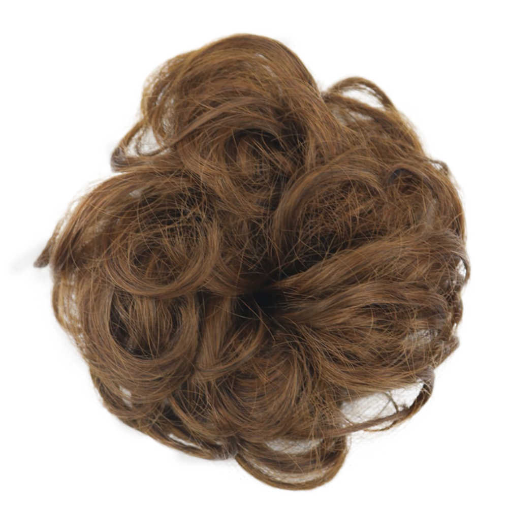 1 ud. Peluca de extensión de pelo de fibra corta Natural desordenada para mujer, peluca de Donut, piezas de pelo de fiesta, resistente al calor, sintético, rizado peluca