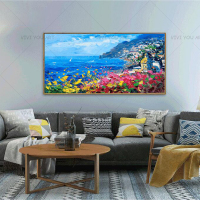 Large Size Handmade Blue Sea Sights Great City View Canvas Oil Painting Wall Picture For Living Room Aisle Modern Home Decor