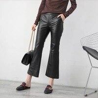 Leather pants women flare pants bell bottom pants 2019 new fashion real sheepskin leather trousers women