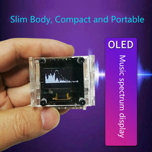 OLED Stereo Control Music Spectrum Display VU Meter 0.96 inch Screen 8 mode Module Handheld Miniature Ultra thin With Case New
