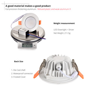 Image 4 - Waterproof LED Ceiling IP66 Fully sealed 5W 7W  9W Warm White Cold White Recessed LED Lamp Spot Light  White shell AC85 277V