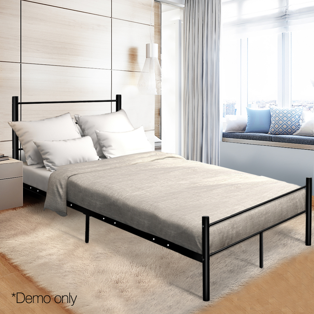 137 X 190cm Artiss Metal Double Bed Frame Black Simple Design Bed With Storage Underneath Space Bedroom Furniture AU