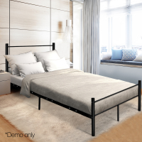 137 X 190cm Artiss Metal Double Bed Frame Black Simple Design Bed With Storage Underneath Space Bedroom Furniture A2