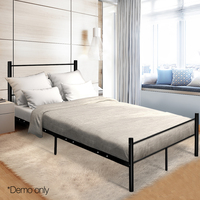 137 X 190cm Artiss Metal Double Bed Frame Black Simple Design Bed With Storage Underneath Space Bedroom Furniture